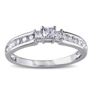 White Gold 1/2ct TDW Princess Cut Three Stone Diamond Ring - Custom Made By Yaffie™