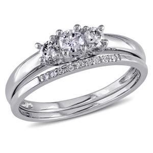 White Gold 1/3ct Diamond 3-Stone Engagement Bridal Ring Set - Custom Made By Yaffie™