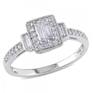 White Gold 1/3ct TDW Baguette and Round-Cut Diamond Halo Engagement Ring - Custom Made By Yaffie™