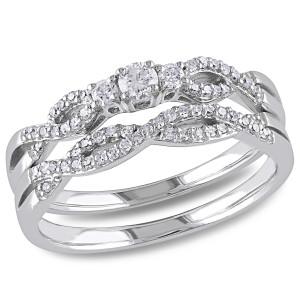White Gold 1/3ct TDW Braided Vintage Diamond Bridal Set - Custom Made By Yaffie™