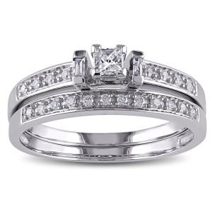 White Gold 1/3ct TDW Diamond Bridal Ring Set - Custom Made By Yaffie™