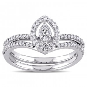 White Gold 1/3ct TDW Diamond Marquise-shape Cluster Bridal Ring Set - Custom Made By Yaffie™