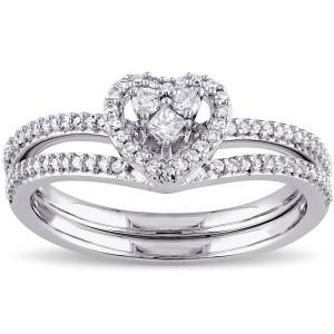 White Gold 1/3ct TDW Princess-cut Diamond Heart Shaped Bridal Ring Set - Custom Made By Yaffie™