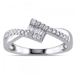 White Gold 1/4ct TDW Baguette Cut Diamond Ring - Custom Made By Yaffie™