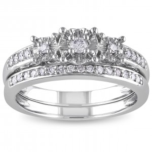 White Gold 1/4ct TDW Diamond 3-stone Anniversary-style Stackable Bridal Ring Set - Custom Made By Yaffie™