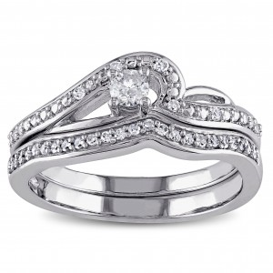 White Gold 1/4ct TDW Diamond Bridal Ring Set - Custom Made By Yaffie™