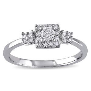 White Gold 1/4ct TDW Diamond Engagement Ring - Custom Made By Yaffie™