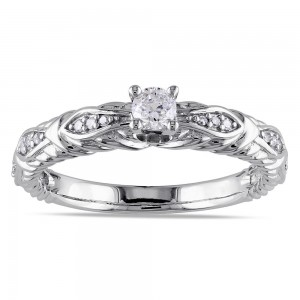 White Gold 1/4ct TDW Diamond Promise Ring - Custom Made By Yaffie™