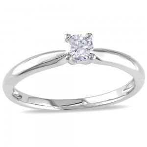 White Gold 1/4ct TDW Diamond Solitaire Engagement Ring - Custom Made By Yaffie™