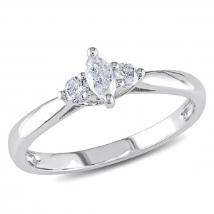 White Gold 1/4ct TDW Marquise Diamond Ring - Custom Made By Yaffie™