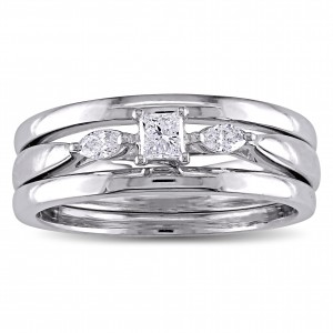 White Gold 1/4ct TDW Princess and Marquise-cut Diamond 3-stone Bridal Ring Set - Custom Made By Yaffie™