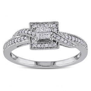 White Gold 1/4ct TDW Princess-cut Diamond Ring - Custom Made By Yaffie™