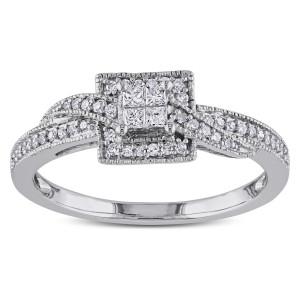 White Gold 1/4ct TDW Princess-cut Diamond Ring - Custom Made By Yaffie™
