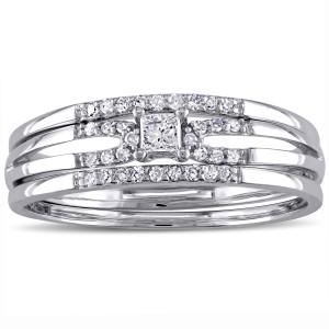 White Gold 1/4ct TDW Princess-cut Diamond Split Shank Bridal Ring Set - Custom Made By Yaffie™