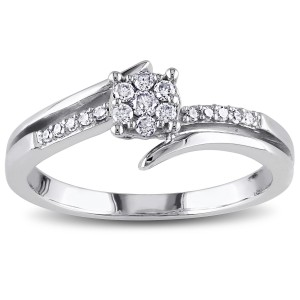 White Gold 1/5ct TDW Diamond Cluster Promise Ring - Custom Made By Yaffie™