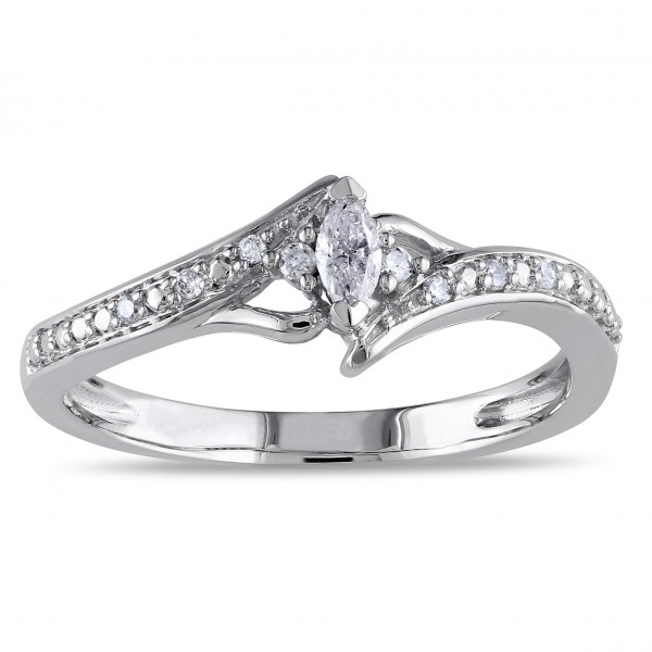 White Gold 1/6ct TDW Marquise-cut Diamond Promise Ring - Custom Made By Yaffie™