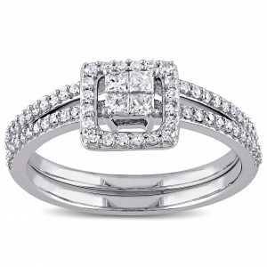 White Gold 2/5ct TDW Princess-cut Diamond Halo Bridal Ring Set - Custom Made By Yaffie™