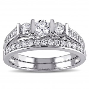 White Gold 3/4ct TDW Diamond Bridal Ring Set - Custom Made By Yaffie™