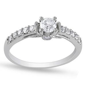 White Gold 3/5ct TDW Diamond Engagement Ring - Custom Made By Yaffie™