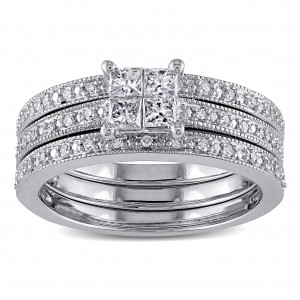 White Gold 3/8ct TDW Princess Diamond Bridal Ring Set - Custom Made By Yaffie™