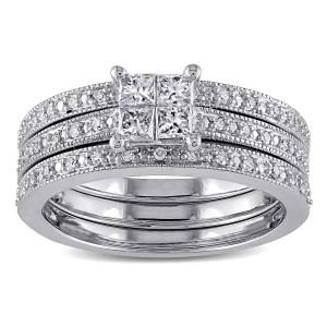 White Gold 3/8ct TDW Princess Diamond Bridal Ring Set - Custom Made By Yaffie™