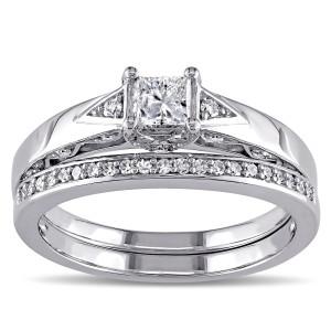 White Gold 5/8ct TDW Diamond Bridal Ring Set - Custom Made By Yaffie™