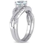 White Gold Aquamarine and 1/6ct TDW Diamond Bridal Ring Set - Custom Made By Yaffie™