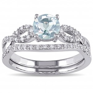 White Gold Aquamarine and 1/6ct TDW Diamond Bridal Ring Set - Custom Made By Yaffie™