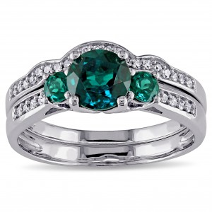 White Gold Created Emerald and 1/6ct TDW Diamond 3-stone Bridal Ring Set - Custom Made By Yaffie™