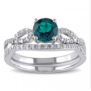 White Gold Created Emerald and 1/6ct TDW Diamond Bridal Ring Set - Custom Made By Yaffie™