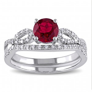 White Gold Created Ruby and 1/6ct TDW Diamond Bridal Ring Set - Custom Made By Yaffie™