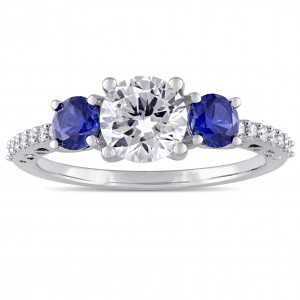 White Gold Created Sapphire and Diamond Ring - Custom Made By Yaffie™