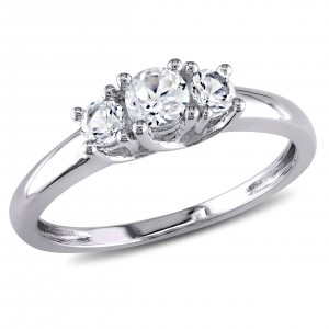 White Gold Created White Sapphire Ring - Custom Made By Yaffie™