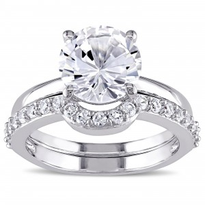 White Gold Created White Sapphire Solitaire Bridal Ring Set - Custom Made By Yaffie™