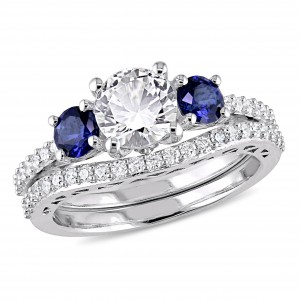 White Gold Created White and Blue Sapphire 1/3ct TDW Diamond Bridal Ring Set - Custom Made By Yaffie™