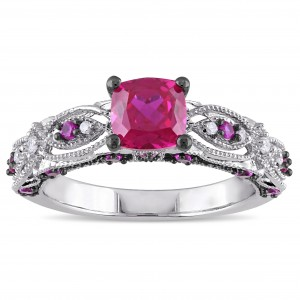 White Gold Cushion-cut Created Ruby and Diamond Accent Vintage Engagement Ring - Custom Made By Yaffie™