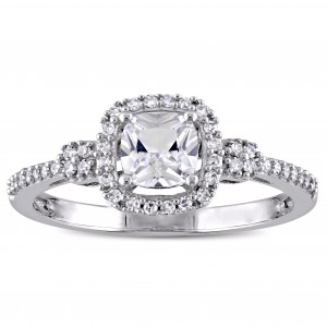 White Gold Cushion-cut Created White Sapphire and 1/6ct TDW Diamond Halo Engagement Ring - Custom Made By Yaffie™