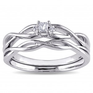 White Gold Diamond Accent Infinity Princess-cut Bridal Ring Set - Custom Made By Yaffie™