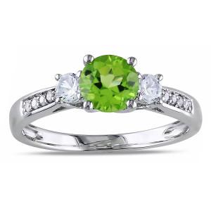 White Gold Gemstone and Diamond Three-Stone Ring - Custom Made By Yaffie™