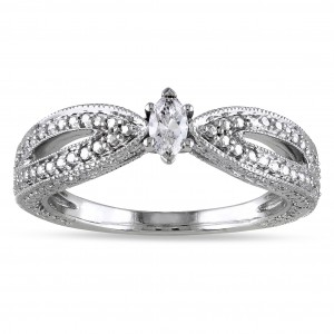 White Gold Marquise-cut Diamond Solitaire Split Shank Promise Ring - Custom Made By Yaffie™