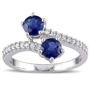 White Gold Sapphire and 1/5ct TDW Diamond Bypass Ring - Custom Made By Yaffie™