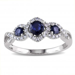 White Gold Sapphire and 1/8ct TDW Diamond 3-stone Engagement Ring - Custom Made By Yaffie™