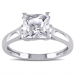 White Gold White Square-cut Created Sapphire Solitaire Ring - Custom Made By Yaffie™