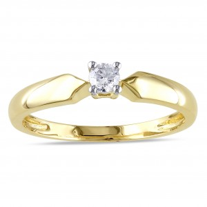 Gold 1/10ct TDW Diamond Solitaire Promise Ring - Custom Made By Yaffie™