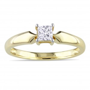 Gold 1/3ct TDW Diamond Solitaire Ring - Custom Made By Yaffie™