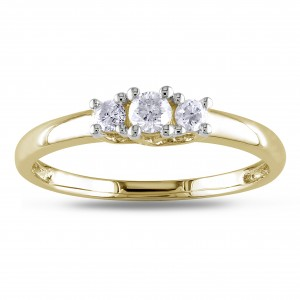 Gold 1/4ct TDW Diamond 3-stone Engagement Ring - Custom Made By Yaffie™