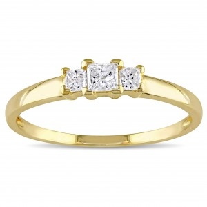 Gold 1/4ct TDW Princess Diamond Traditional 3-stone Ring - Custom Made By Yaffie™
