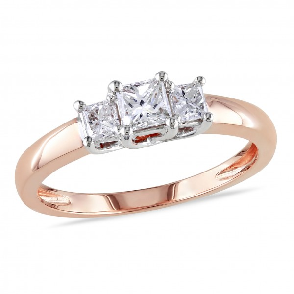 Rose Gold 1/2ct TDW Diamond 3-Stone Ring - Custom Made By Yaffie™