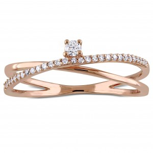 Rose Gold 1/6ct TDW Diamond Criss-Cross Promise Ring - Custom Made By Yaffie™