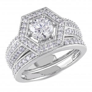 White Gold 1 1/2ct TDW Diamond Bridal Ring Set - Custom Made By Yaffie™